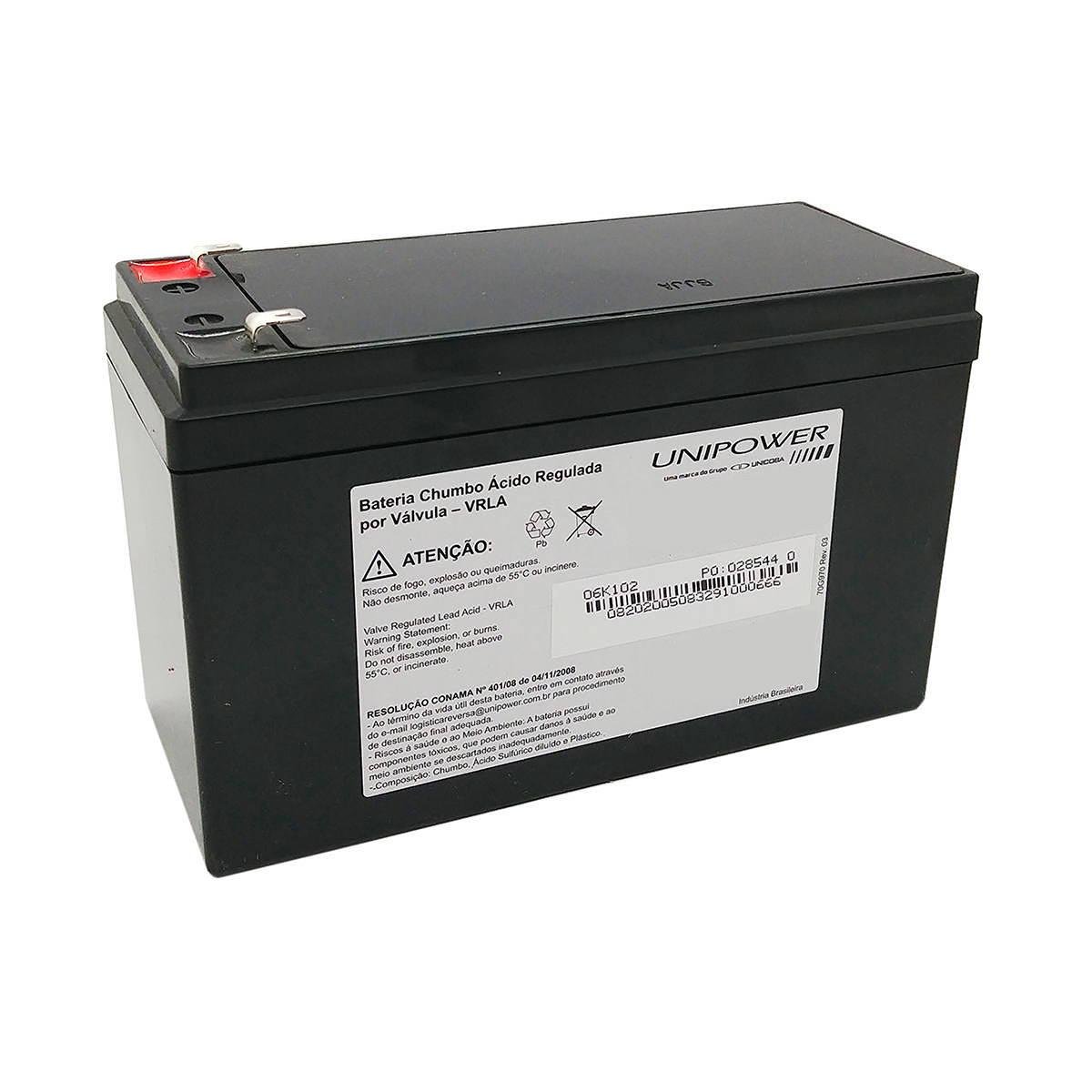 Bateria 12V 4Ah Selada para Centrais de Alarme Sistema de Segurança CFTV Cerca Elétrica Unicoba Unipower UP12ALARME