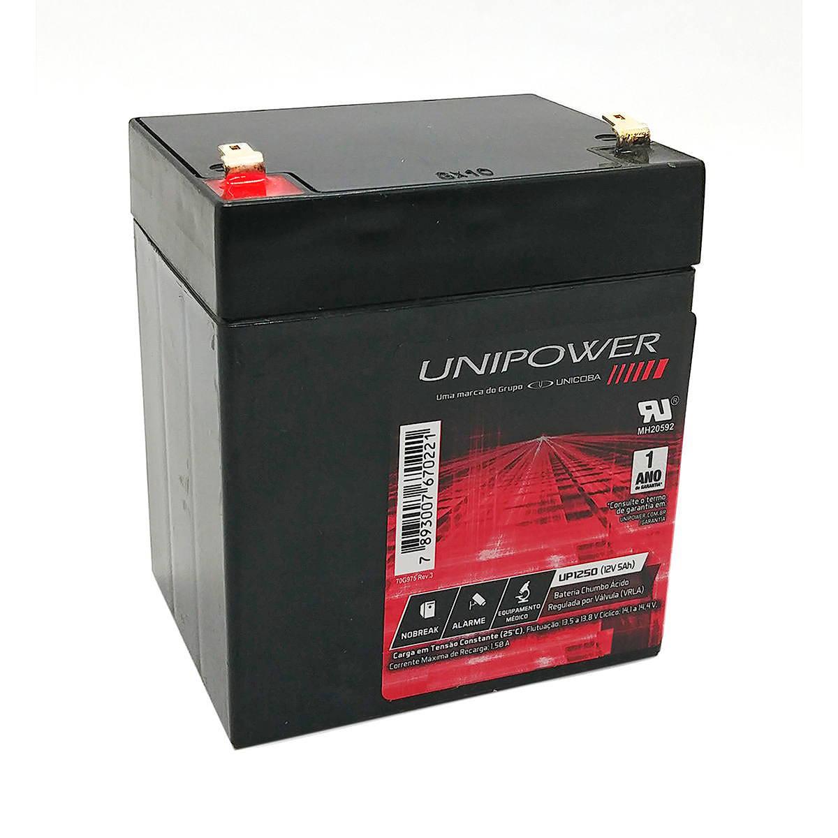 Bateria 12V 5Ah Selada para Brinquedos Balanças Nobreaks Iluminação de Emergência VRLA Unicoba Unipower UP1250