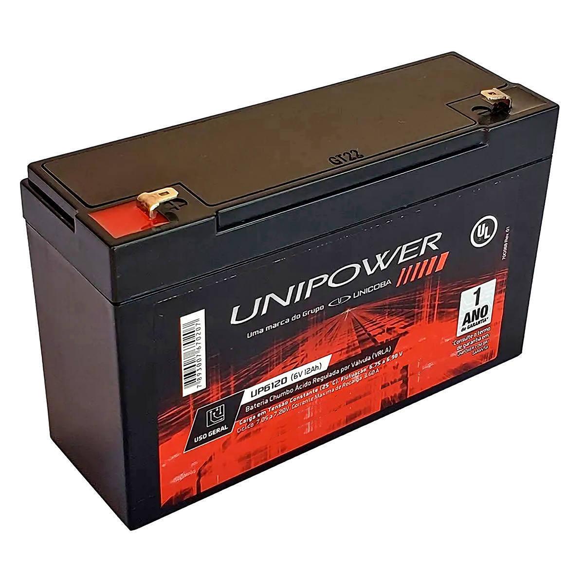 Bateria 6V 12Ah Selada para Brinquedos Eletrônicos Moto e Carro Elétricos VRLA Unicoba Unipower UP6120