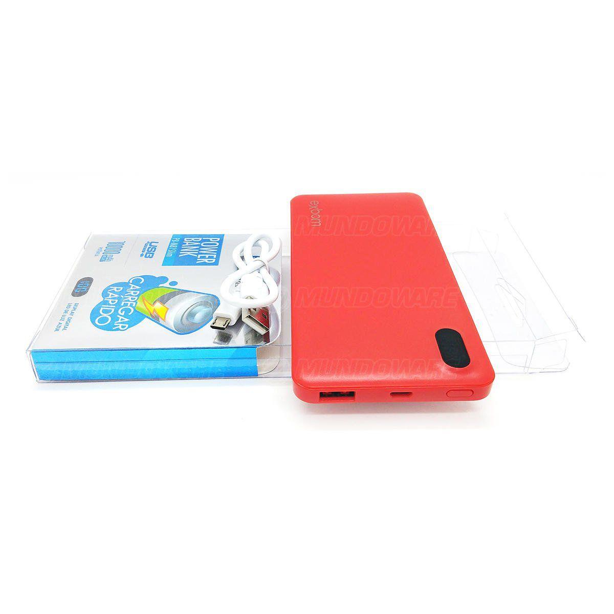 Bateria Externa Portátil para Celular 10.000mAh com Display LED Indicador de Carga Power Bank Exbom PB-M81Slim Vermelho