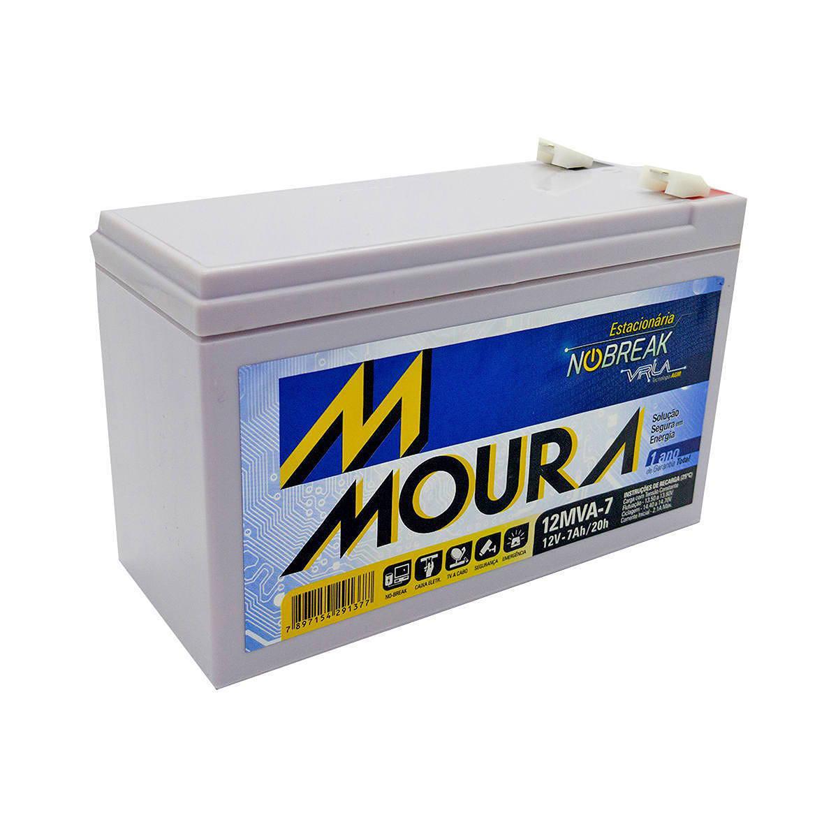 Bateria para Nobreak 12V 7Ah Estacionária Tecnologia VRLA AGM Moura