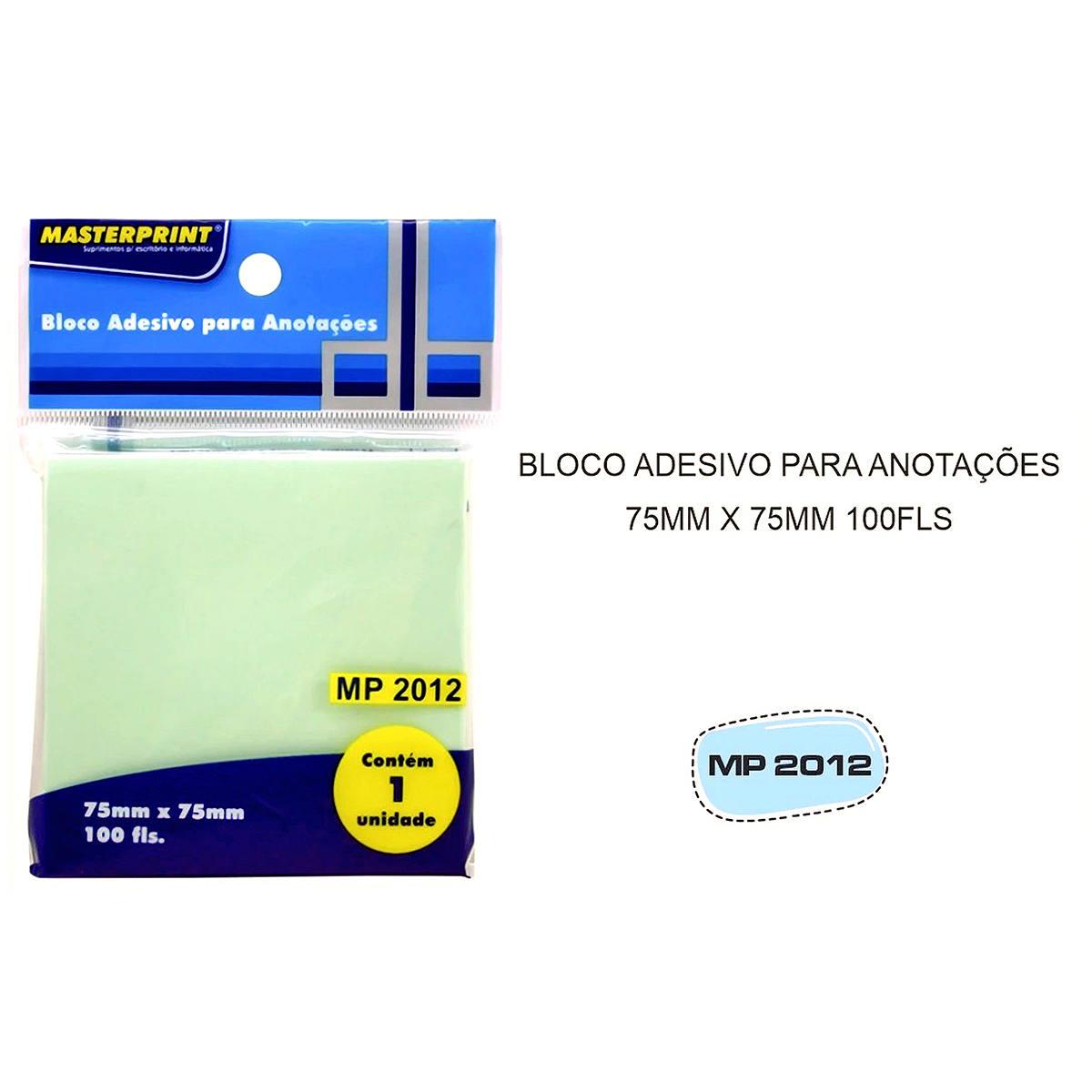 Bloco Adesivo para Anotações Verde 75x75mm com 100 Folhas Masterprint MP2012