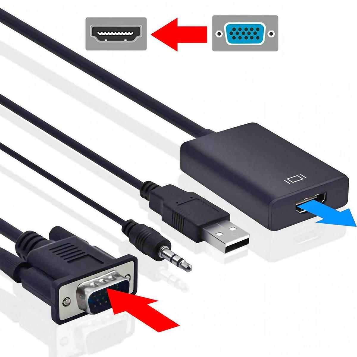 Cabo Conversor VGA Macho x HDMI Fêmea com Áudio e Vídeo 1080p Alimentação por USB Exbom CC-VHA30