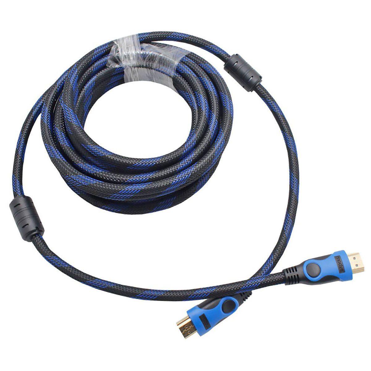 Cabo HDMI de 5 metros Blindado com Filtro e Malha Versão 1.4 Suporte 3D Full HD 1080 Exbom CBX-H50CM
