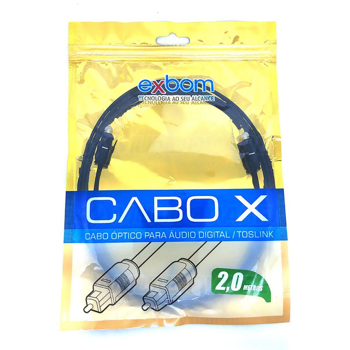 Cabo Óptico para Áudio Digital OD2.2 Toslink com 2 metros Preto Exbom CBX-OAM20