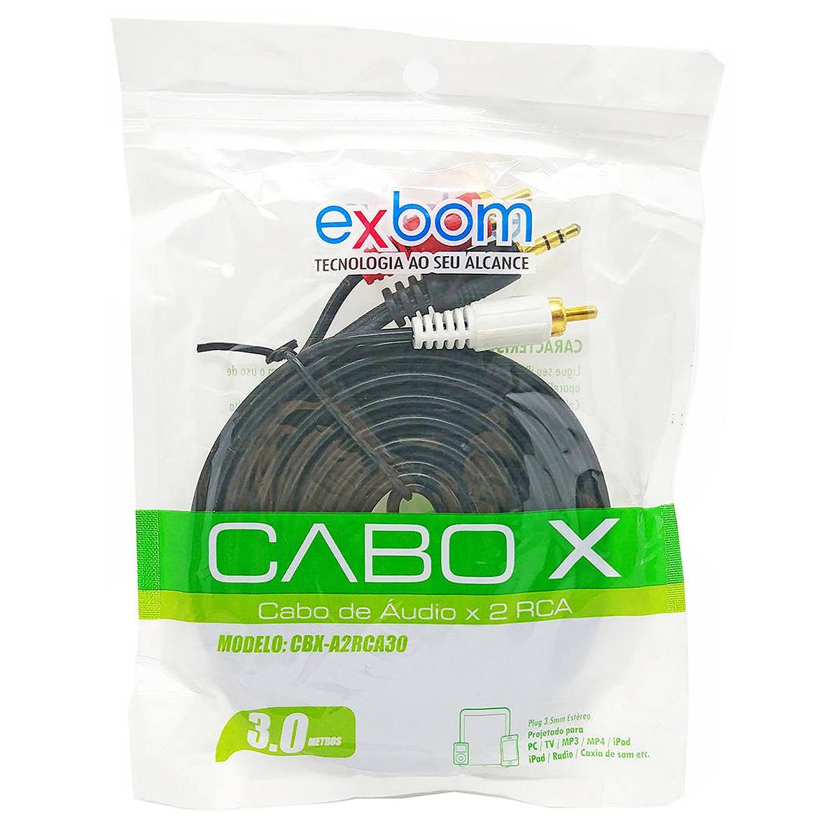 Cabo P2 x 2 RCA Áudio Estéreo Pontas Douradas 3 Metros Exbom CBX-A2RCA30