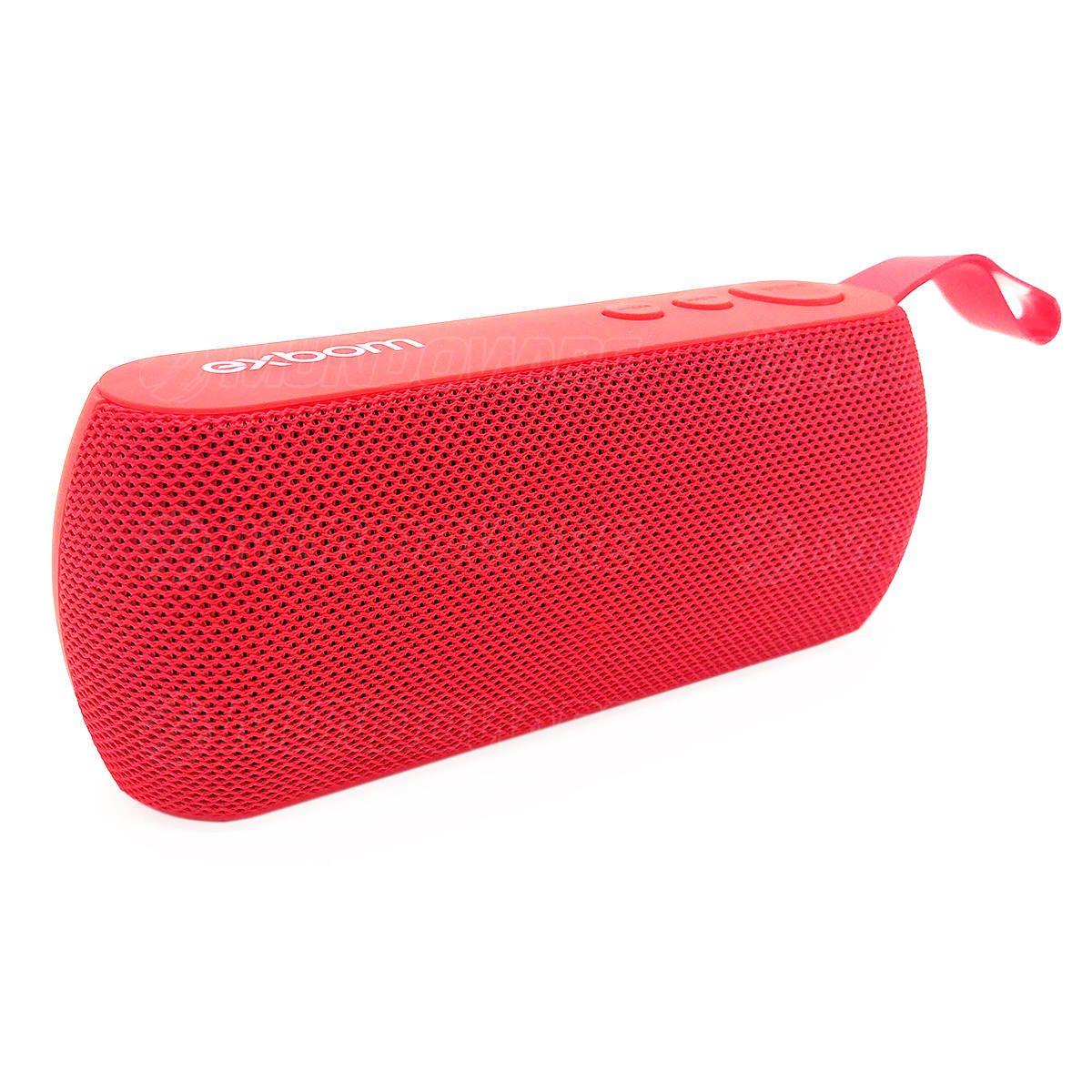 Caixa de Som Bluetooth Portátil 3W com Rádio FM USB Micro SD Auxiliar Microfone Embutido Exbom CS-M29BT Vermelha