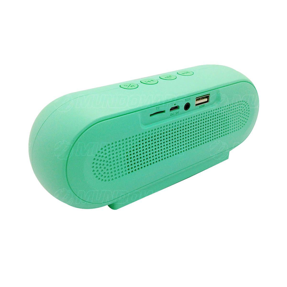 Caixa de Som Bluetooth 5.0 Multimídia 10W FM USB SD P2 Tecnologia TWS Bateria 1200mAh Macaron VC-M290BT Verde