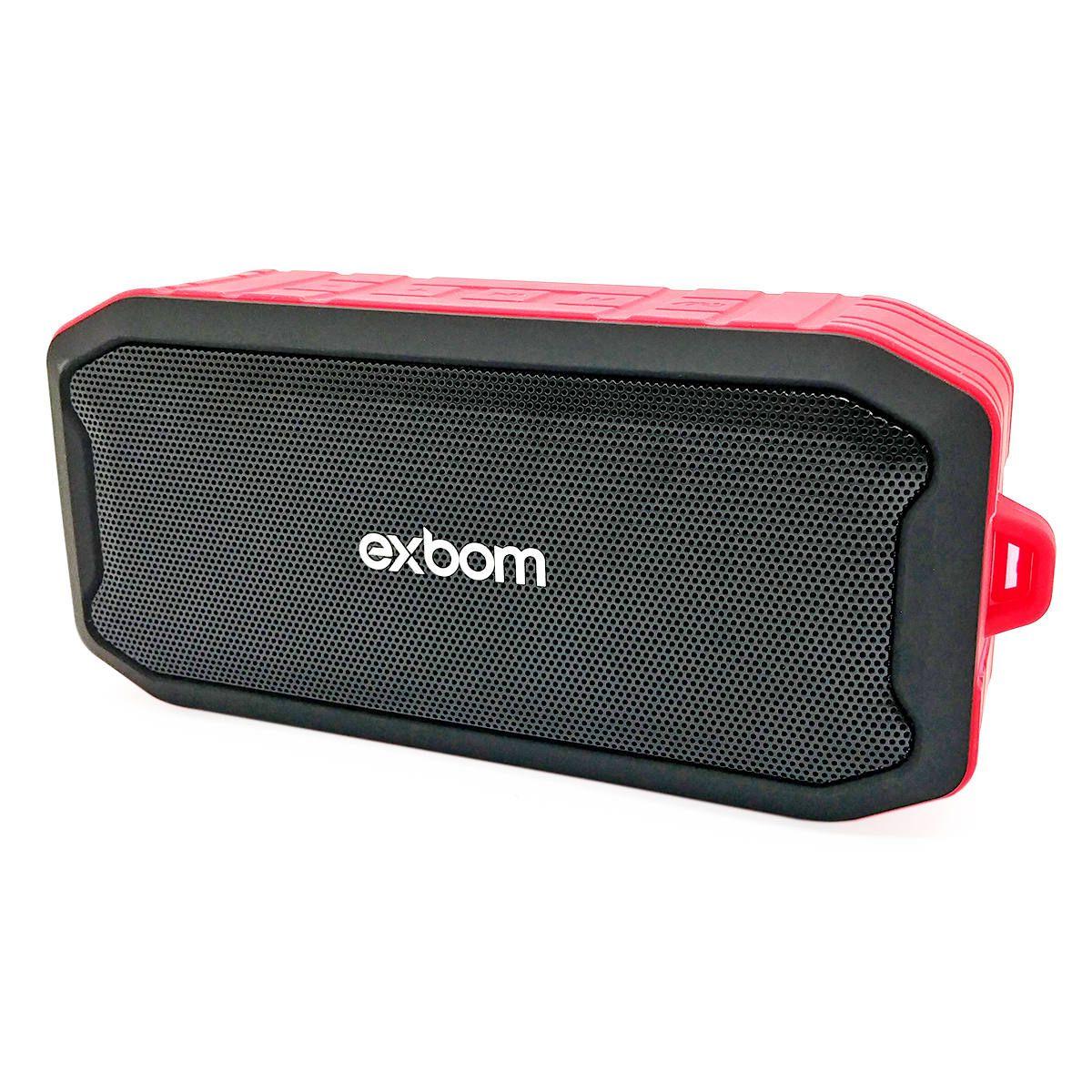 Caixa de Som Bluetooth à Prova d'Água IPX7 Acabamento Emborrachado FM USB SD P2 Exbom Panzer CS-M86BT Vermelha
