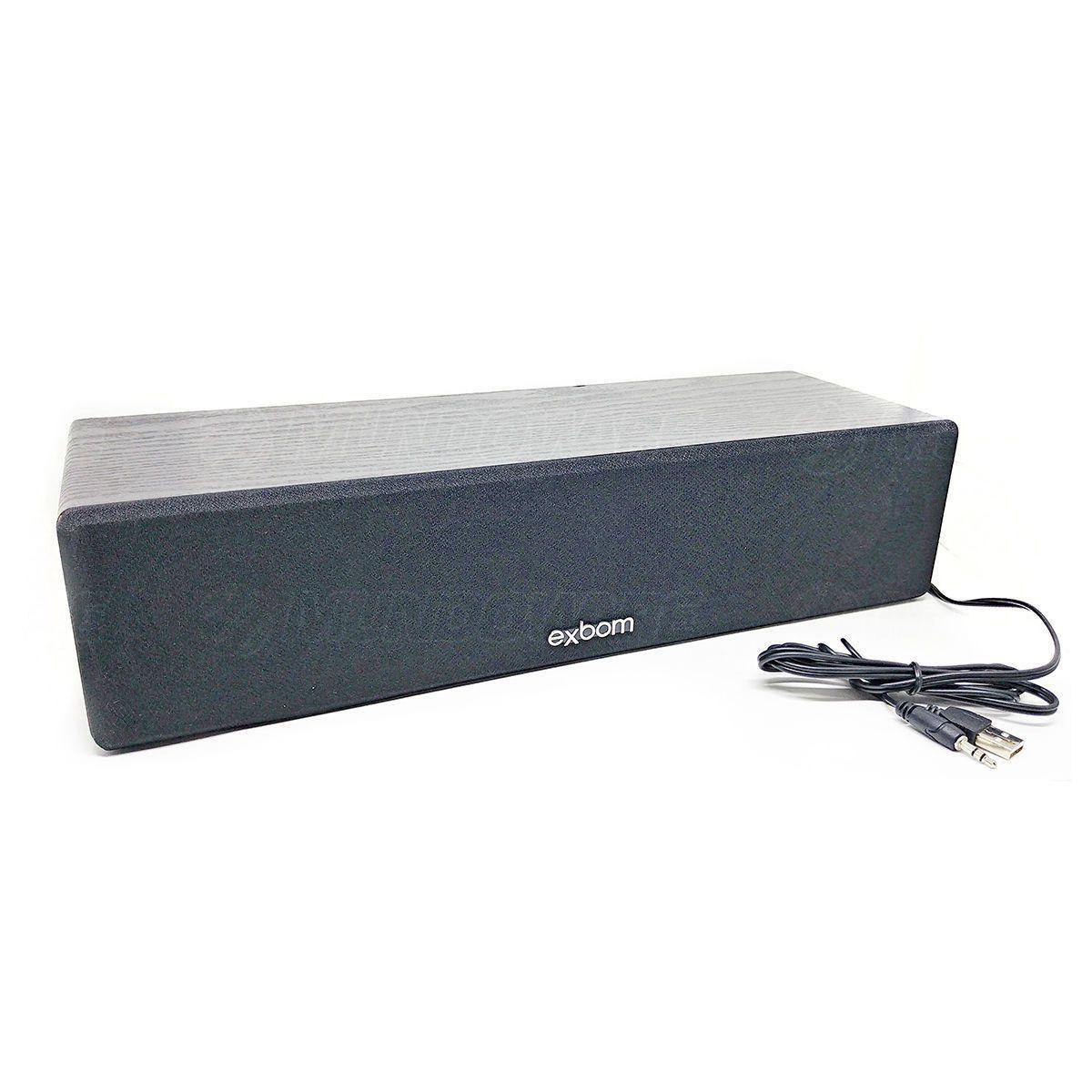 Caixa de Som com Bass em Madeira Escura 8W Sound Bar para TV e Computador Exbom CS-200