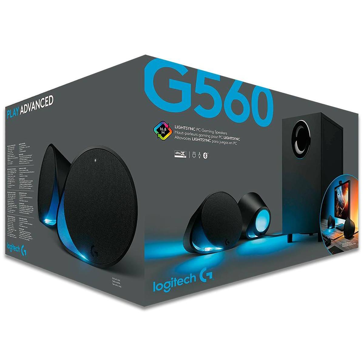 Caixa De Som Gamer Logitech G560 240W Ultra Surround Tecnologia RGB Lightsync Conexões Bluetooth Usb P3 980-001310