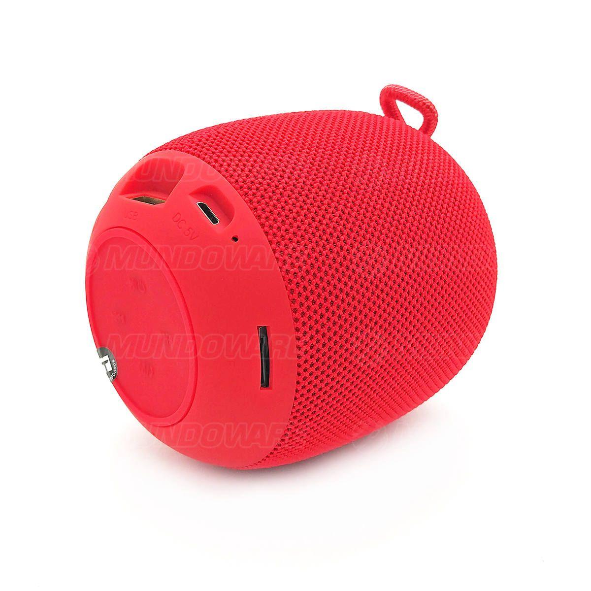 Caixa de Som Portátil 3W Bluetooth 4.2 Entrada USB Micro SD Auxiliar P2 Rádio Função Atende Telefone Exbom CS-M26BT Vermelha