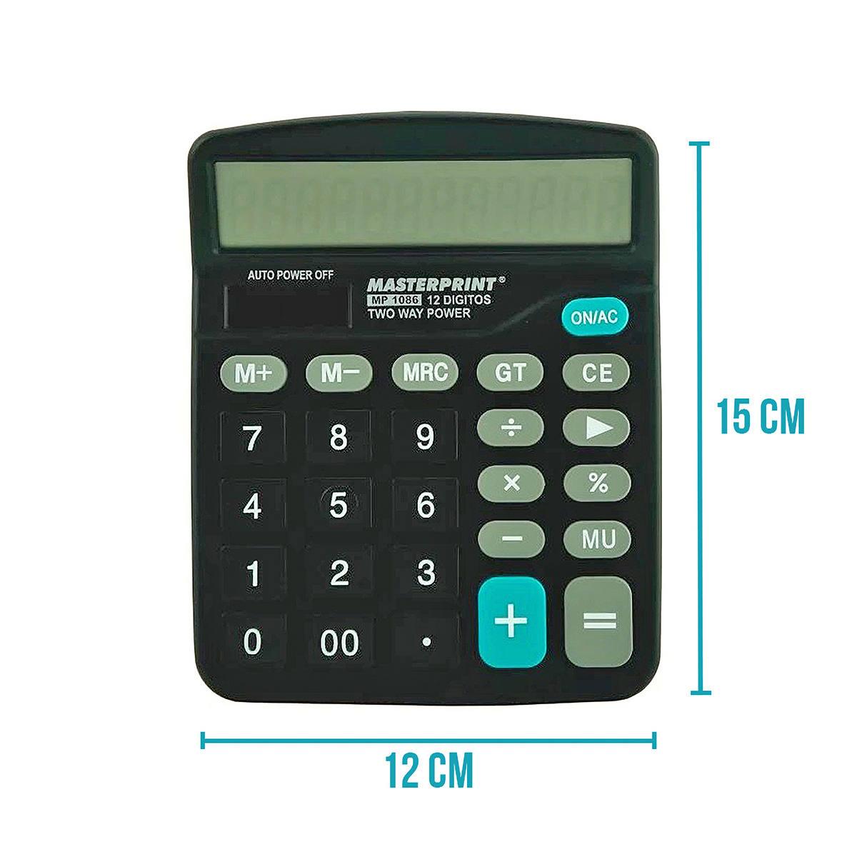 Calculadora de Mesa 12 Dígitos Eletrônica Masterprint MP1086