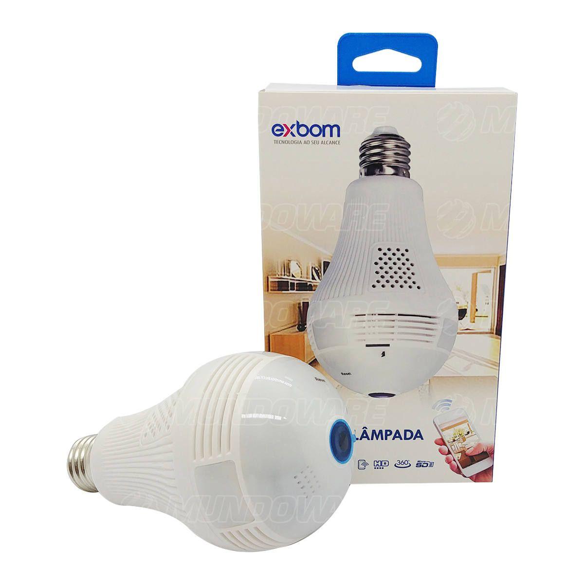 Câmera Lâmpada IP 360º Panorâmica HD 2.0MP 1280x960 SD Card Visão Noturna Alto-falante e Microfone Exbom IPCAM-L130