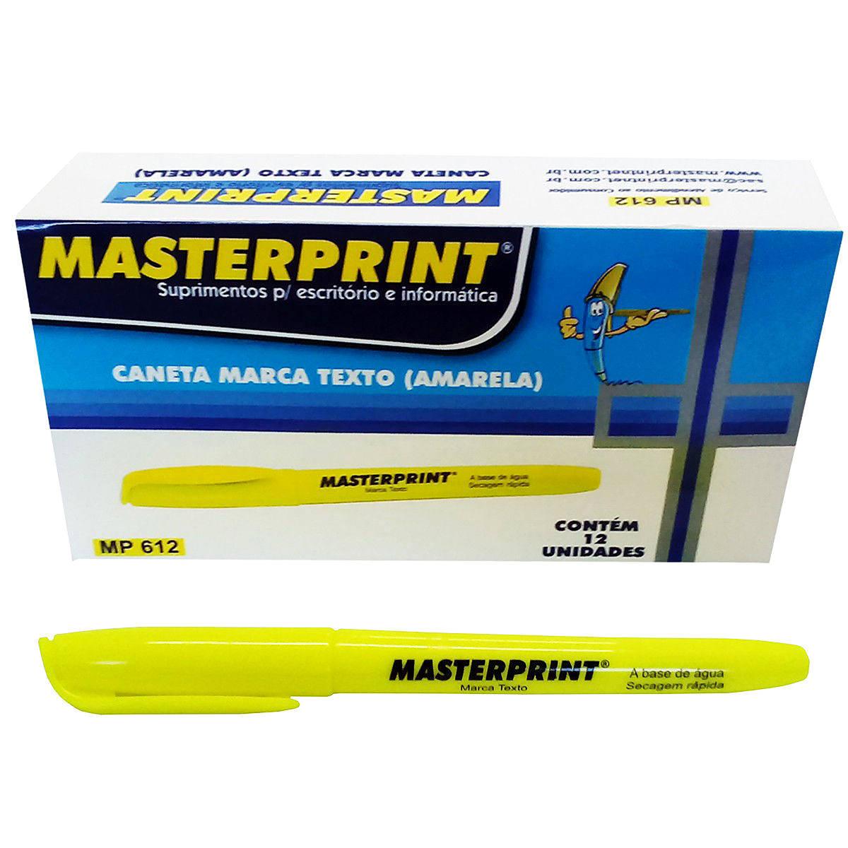 Caneta Marca Texto Amarela com Ponta Chanfrada Masterprint MP612 Pincel MP 612 / Caixa com 12 Unidades