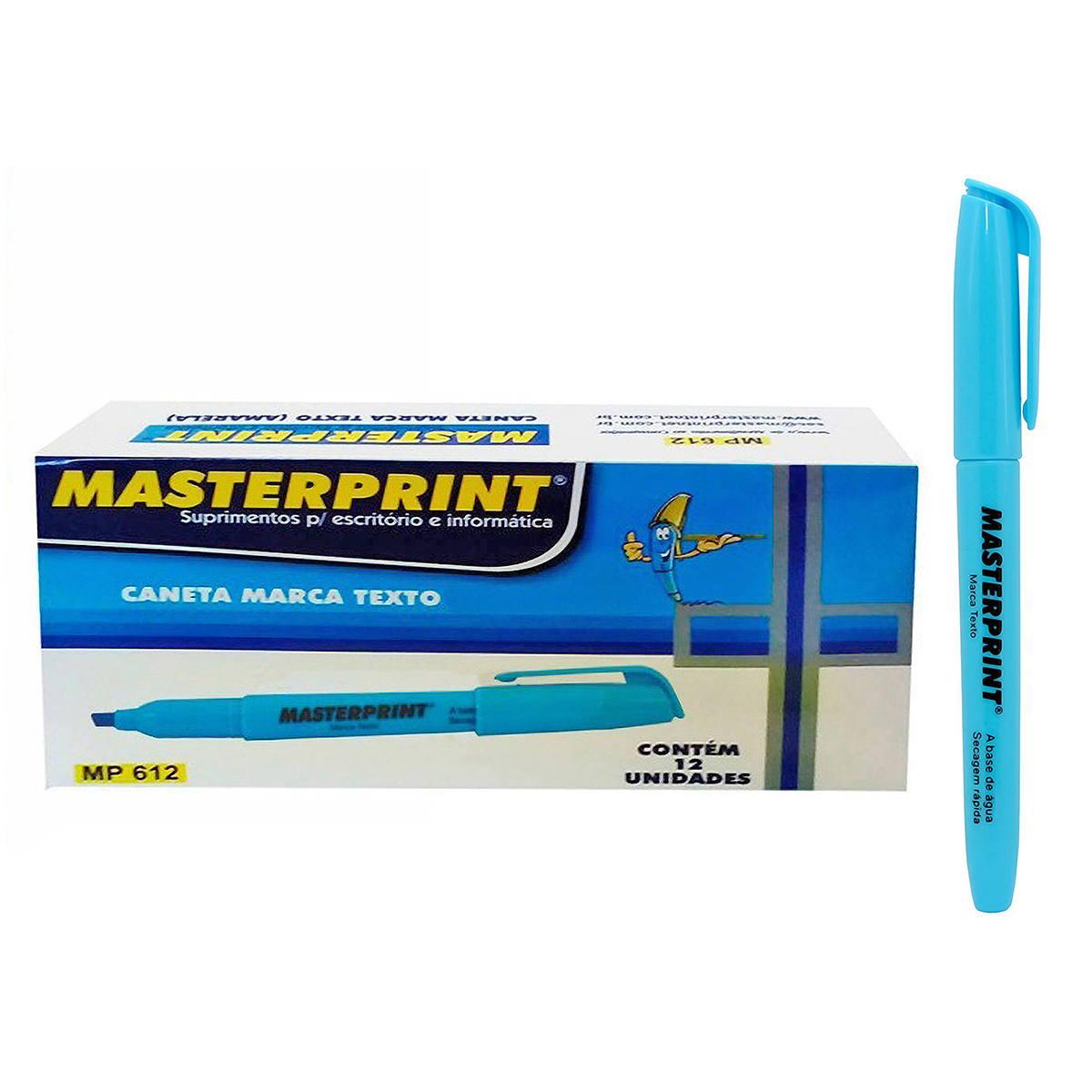 Caneta Marca Texto Azul com Ponta Chanfrada Masterprint MP612 Pincel MP 612 / Caixa com 12 Unidades
