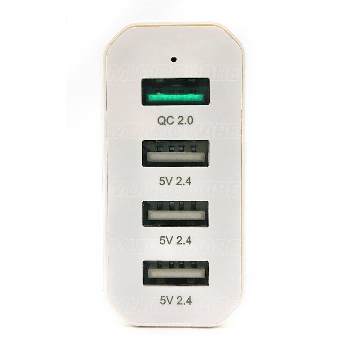 Carregador de Mesa com 4 USB 40W QC2.0 Carrega Rápido Cabo de Energia 150cm Infokit IF4U-SQ340