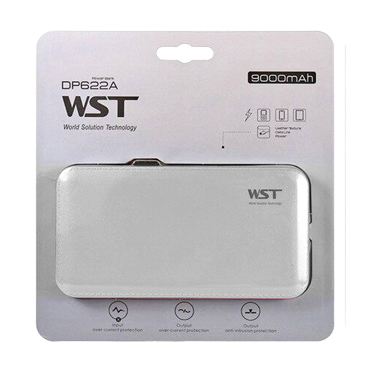 Carregador Portátil 9000mAh com Cabo de Conexão Micro USB V8 Power Bank WST DP622A Branco