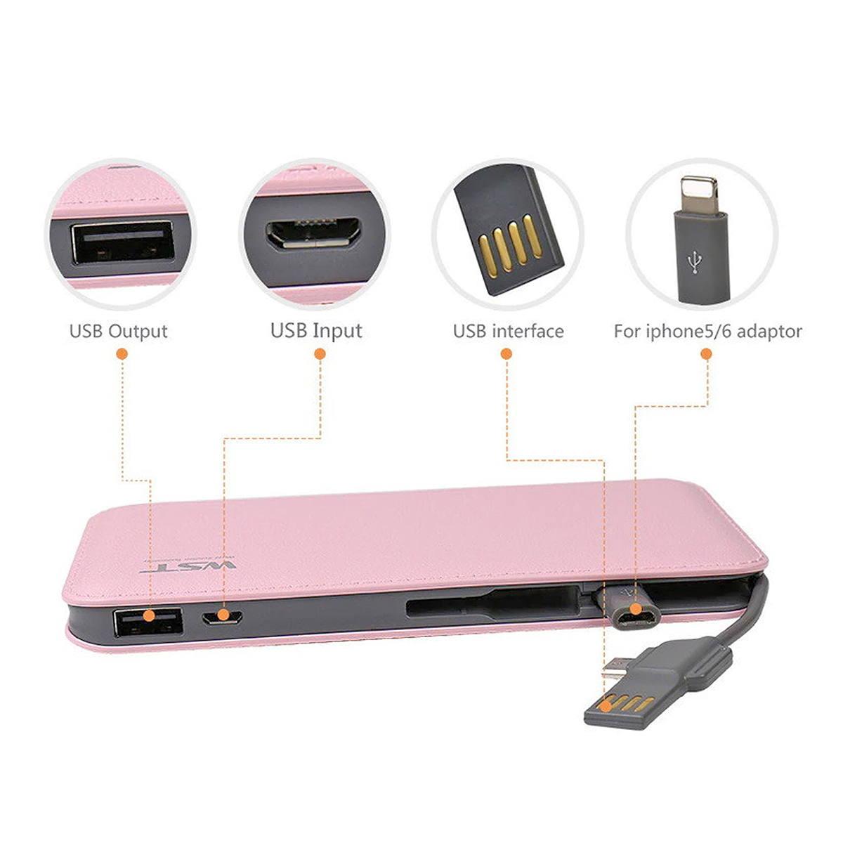 Carregador Portátil 9000mAh com Cabo de Conexão Micro USB V8 Power Bank WST DP622A Rosa