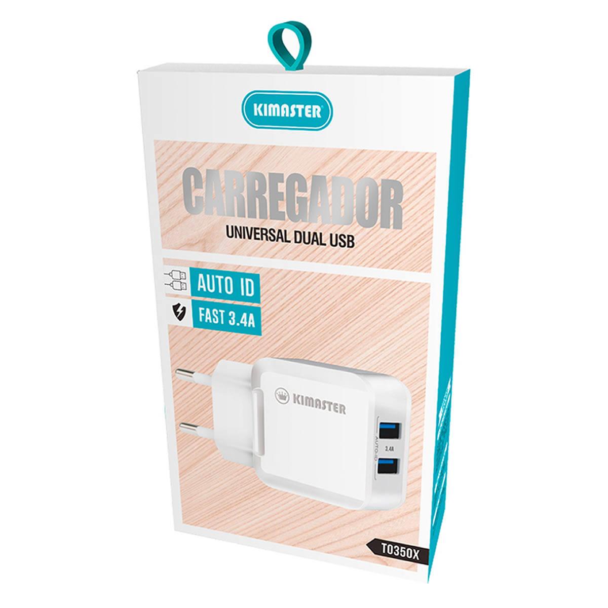 Carregador Universal Dual USB Fast 3.4A Auto ID Kimaster TO350X