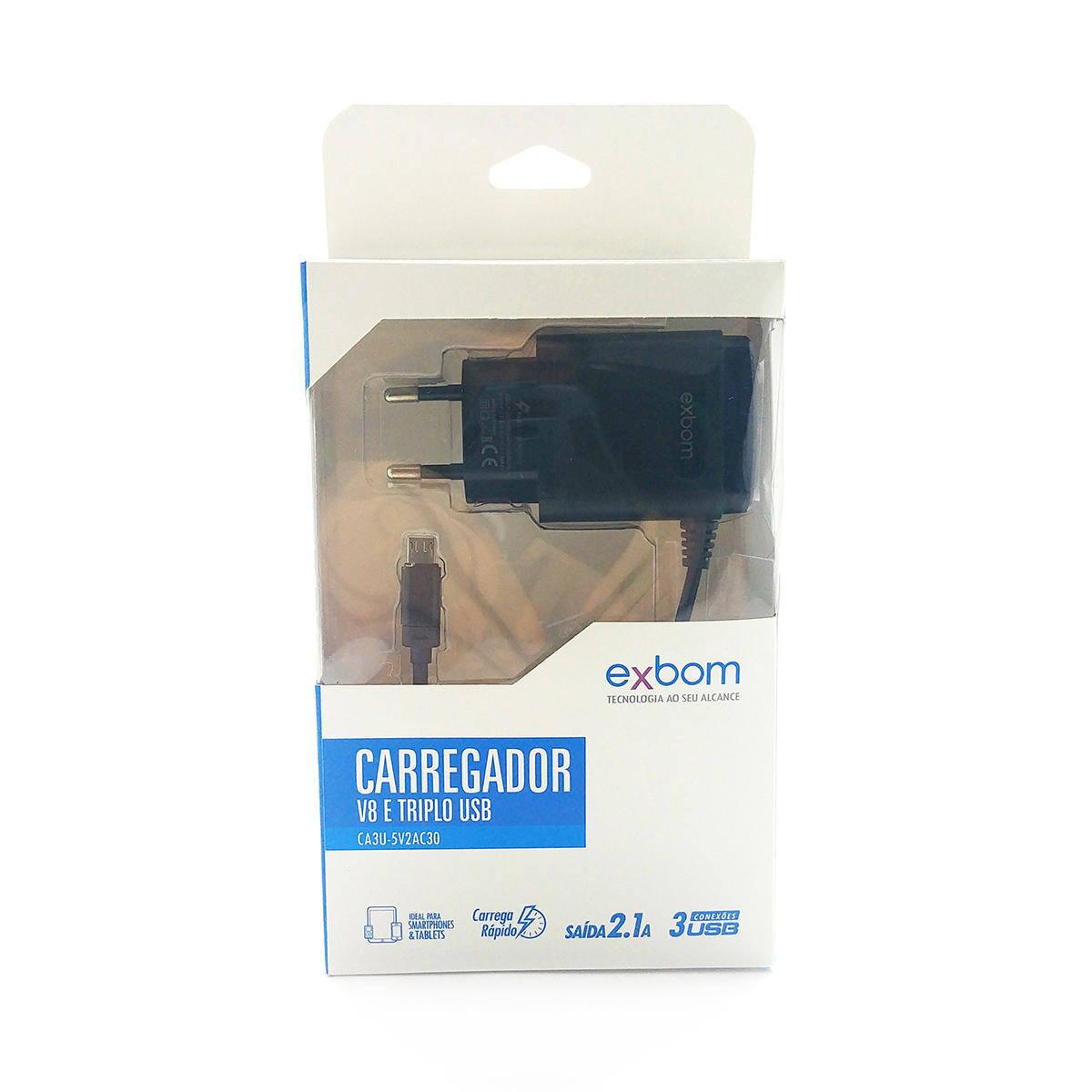 Carregador USB Triplo com Cabo V8 Fixo Carga Rápida 2.1A Bivolt Tomada 2 Pinos Exbom CA3U-5V2AC30