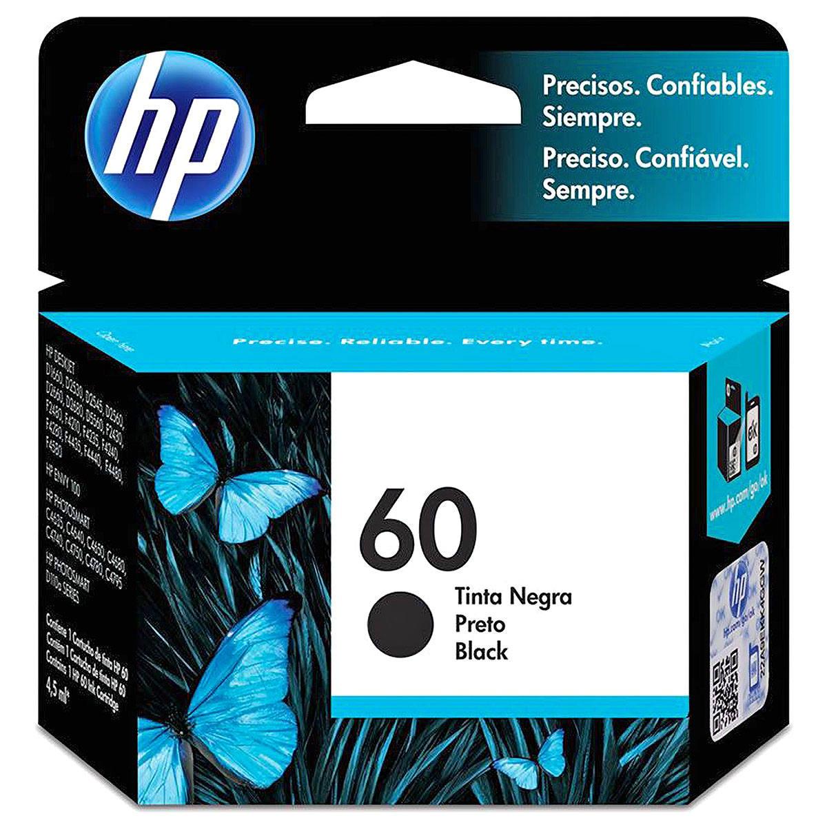 Cartucho de Tinta HP 60 Preto CC640WB para HP Deskjet D1660 D2560 F4280 Photosmart C4680 D110a ENVY D410a Original 4ml