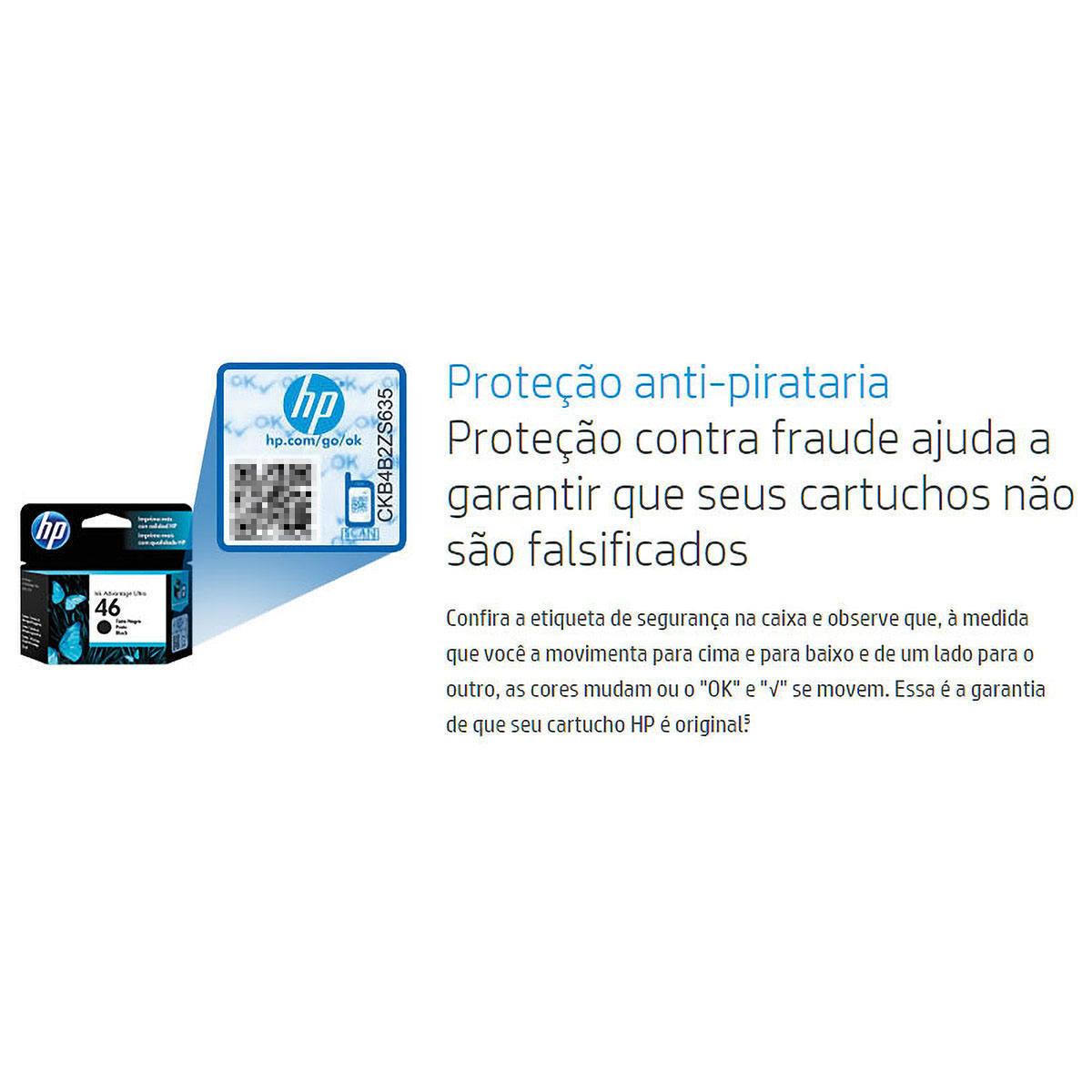 Cartucho de Tinta HP 664 Preto F6V29AB F6V29A para HP Deskjet 1115 2136 2676 3635 4536 5276 Original 2ml