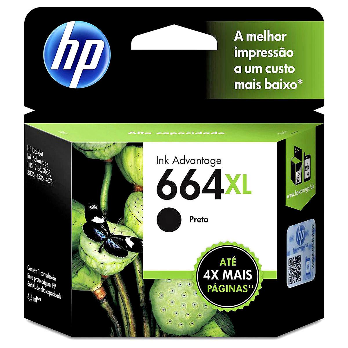 Cartucho de Tinta HP 664XL Preto F6V31AB F6V31A para HP Deskjet 1115 2136 3836 5076 Original 8,5ml Alto Rendimento