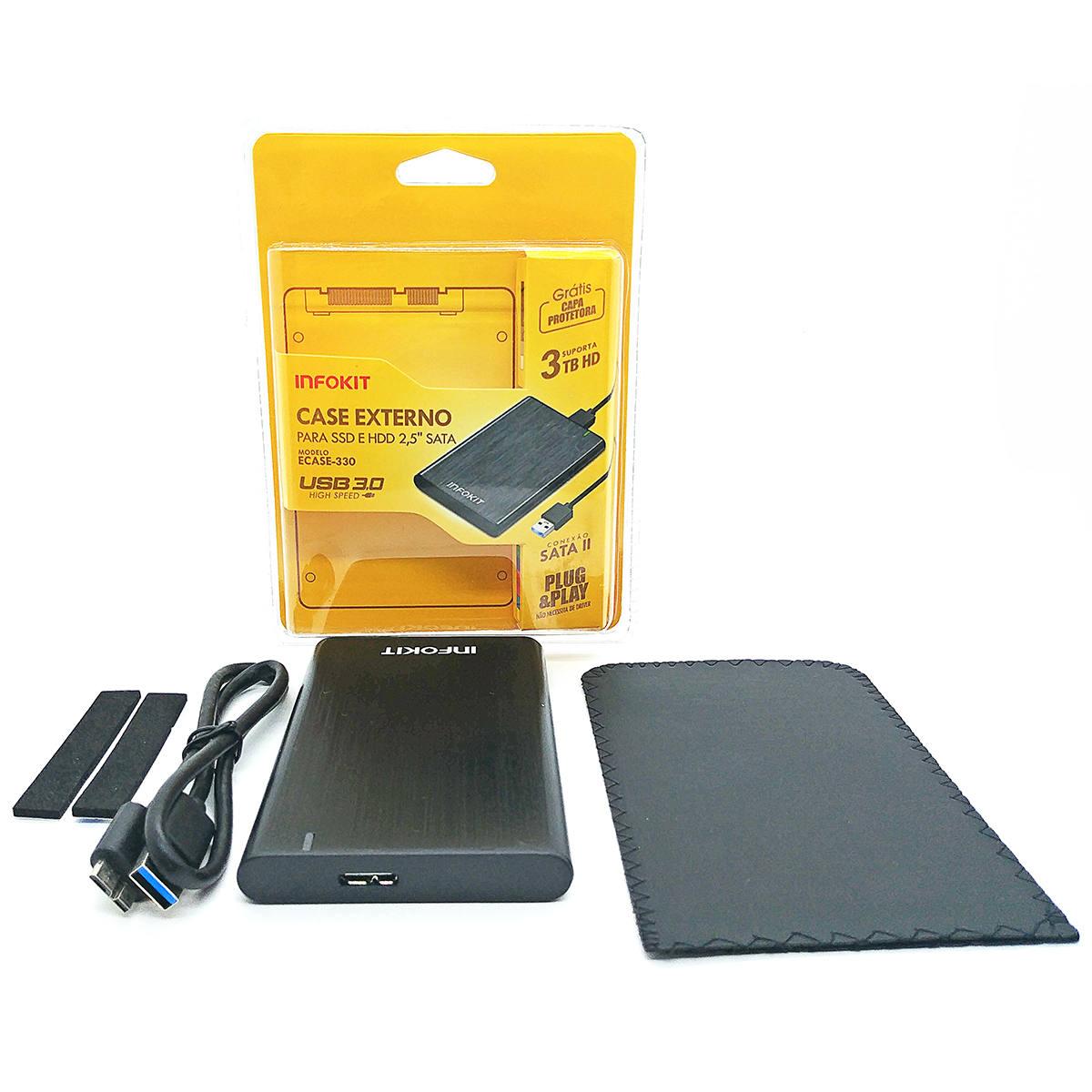 """Case Externo para SSD e HDD SATA 2.5"""" USB 3.0 apoio UASP 3TB em Alumínio Escovado com Capa Protetora Infokit Ecase-330"""