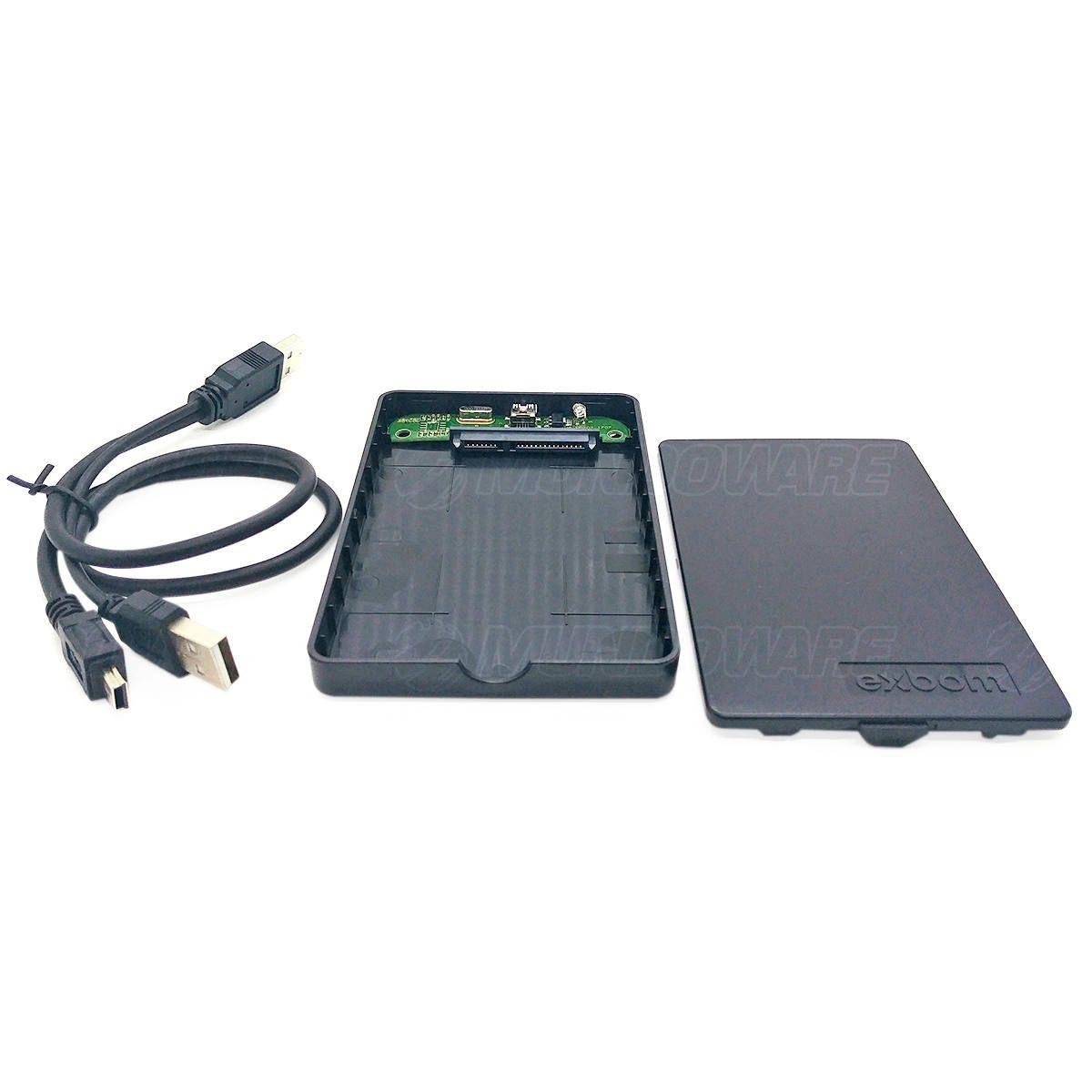 "Case para HD Externo SATA II 2.5"" USB 2.0 em ABS Exbom CGHD-20 Preto"