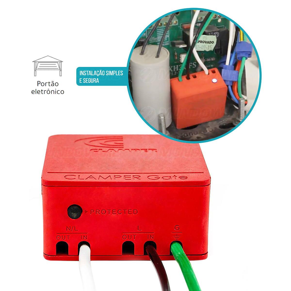 Clamper Gate DPS para Motor de Portão Eletrônico Protege Contra Surtos Elétricos e Raios