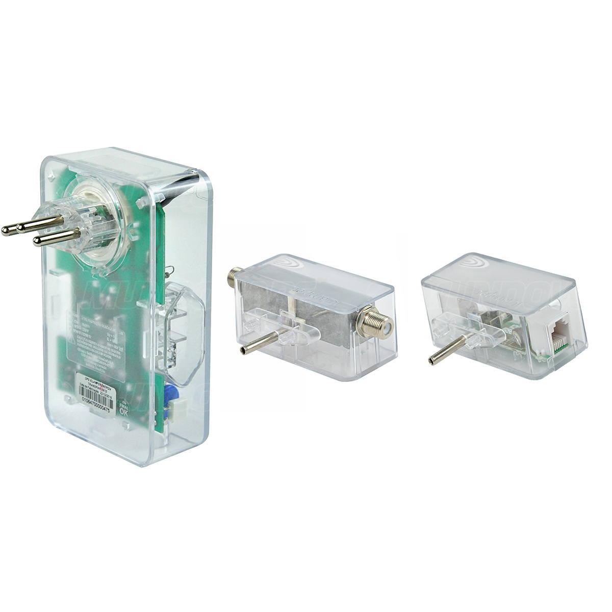 Combo 3 em 1 DPS Clamper 3 Tomadas Energia 3 + iClamper Tel para RJ11 + iClamper Cabo para Coaxial p/ Proteção Completa