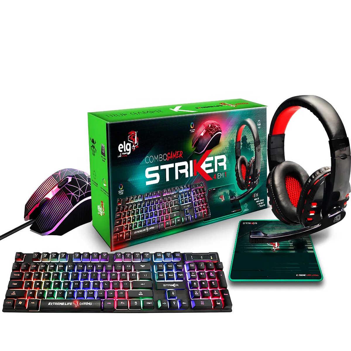 Combo Gamer 4 Em 1 Teclado + Mouse + Headset + Mousepad Striker ELG CGSR41