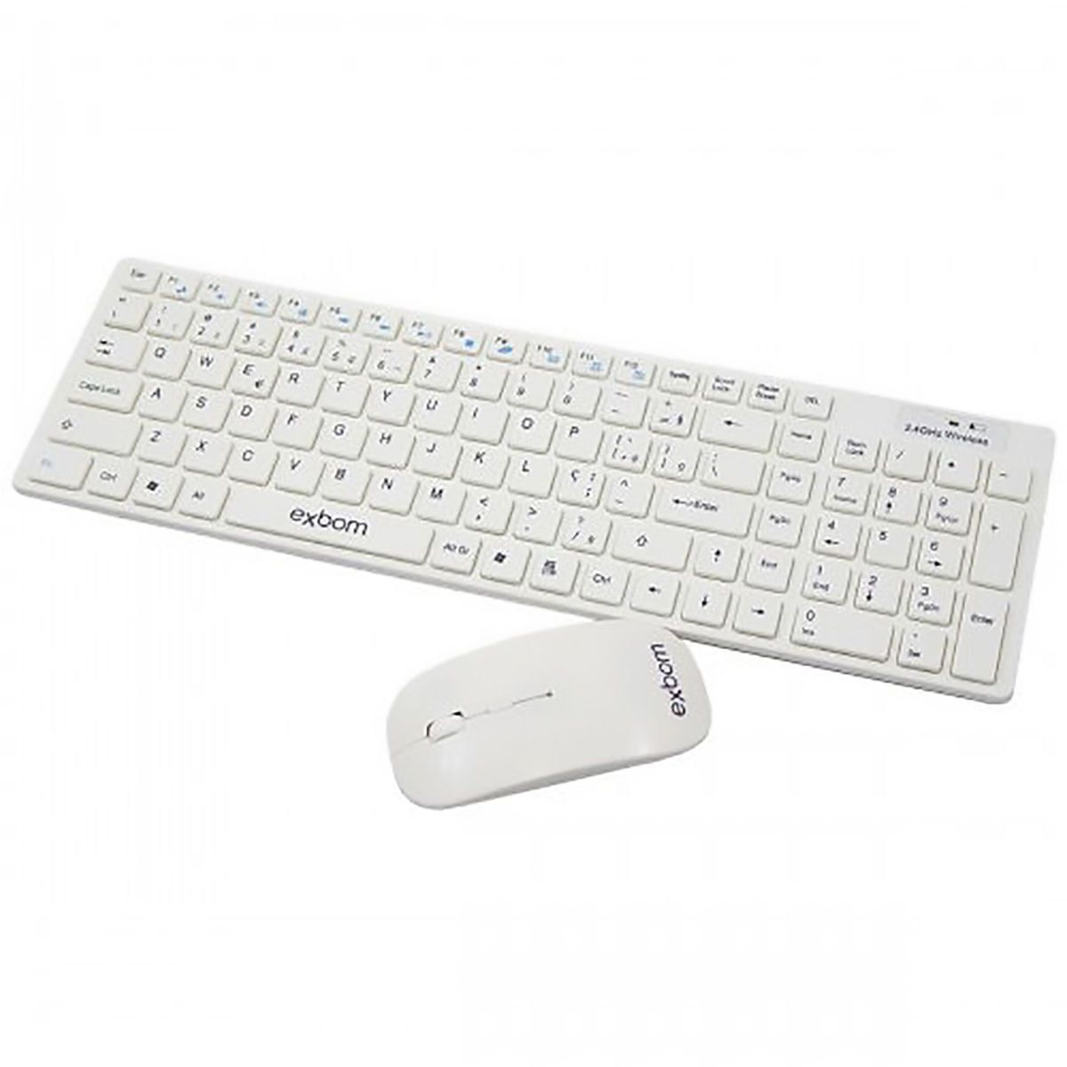Kit Teclado + Mouse Wireless Sem Fio 2.4Ghz 1600 Dpi Exbom BK-S1000 Branco