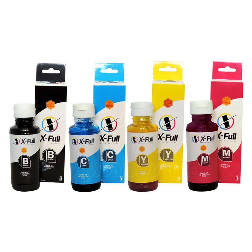 Compatível: Kit 4 Cores de Tinta X-Full Ultra para Impressora HP InkTank 315 316 319 410 415 416 419 SmartTank 450 455
