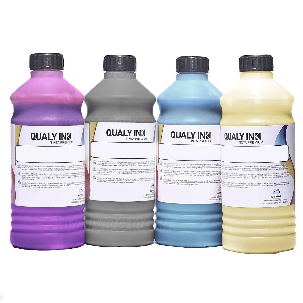 Compatível: Kit 4 Cores Tinta Corante Qualy-Ink Série 664 para Epson L355 L365 L375 L395 L495 L565 CMYK 4 de 1L