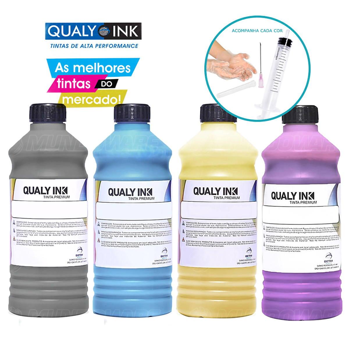 Compatível: Kit 4 Cores Tinta Corante Qualy-Ink para HP Pro 8600 8600w 8610 8620 8000 8100 251dw 276dw CMYK 4 de 1L