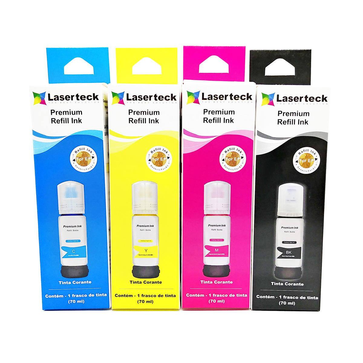 Compatível: Kit Colorido de Tinta Corante Laserteck para Epson L4150 L4160 L6160 L6161 L6171 L6190 L6191 / 4x70ml