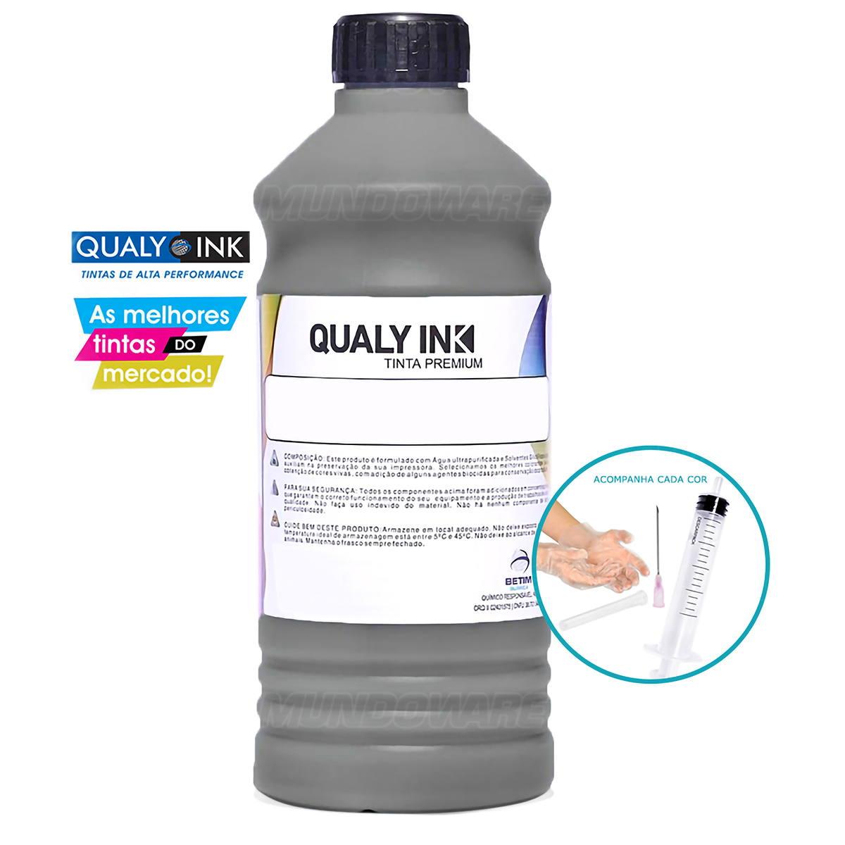 Compatível: Tinta Corante Qualy-Ink BC1H-1003 para Recarga de Cartuchos HP série 3000 Preto 1L