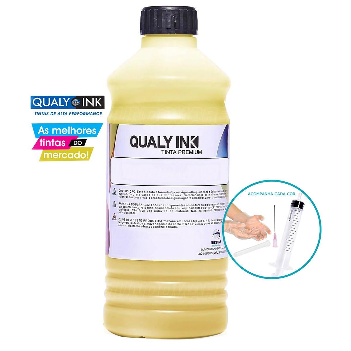 Compatível: Tinta Corante Qualy-Ink YC1H-696 para Recarga de Cartuchos HP série 3000 Amarelo 1L