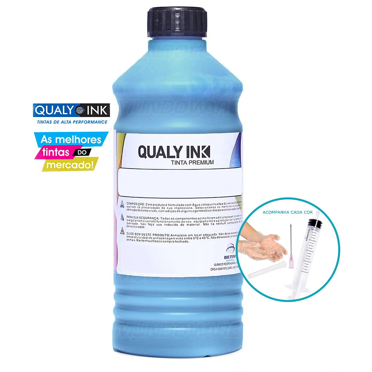 Compatível: Tinta Pigmentada Qualy-Ink CP3E-1533 Série 673 para Epson L800 L805 L810 L850 L1800 Ciano 1L