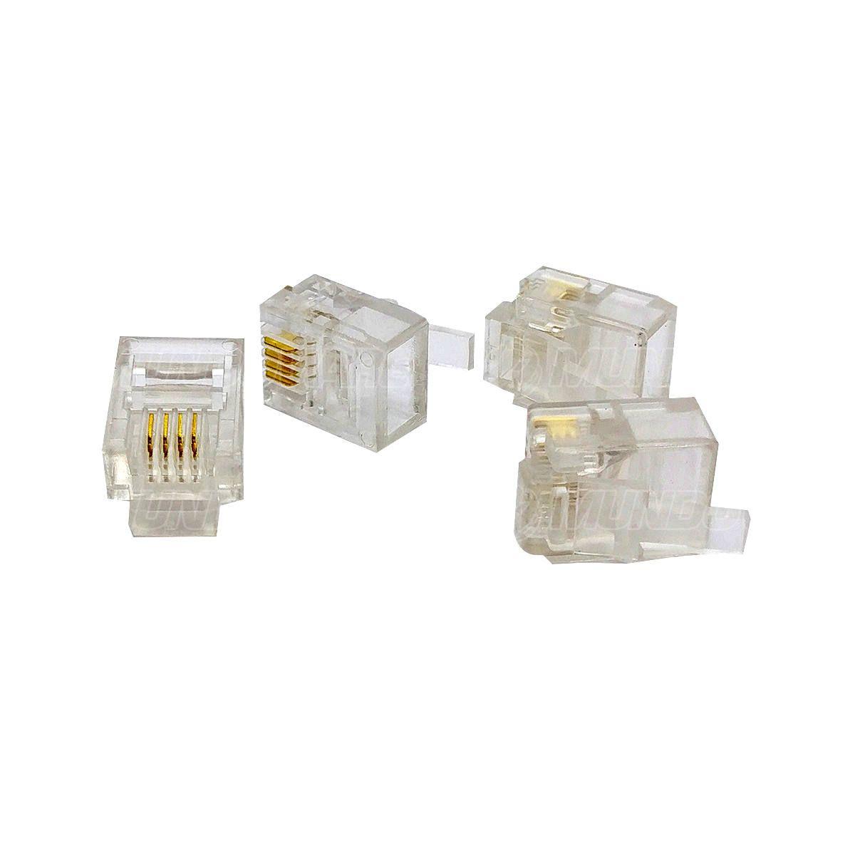 Conector RJ11 4P4C 4 Vias Suporta PABX e Linha Convencional de Telefonia Exbom RJ11P100 / Caixa com 100 Unidades