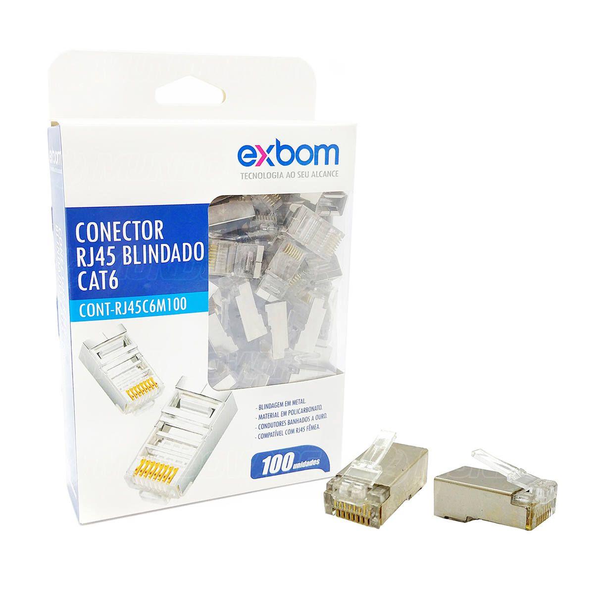 Conector RJ45 CAT6 Blindado em Metal 8P8C Suporta Gigabit Ethernet Exbom RJ45C6M100 / Caixa com 100 Unidades