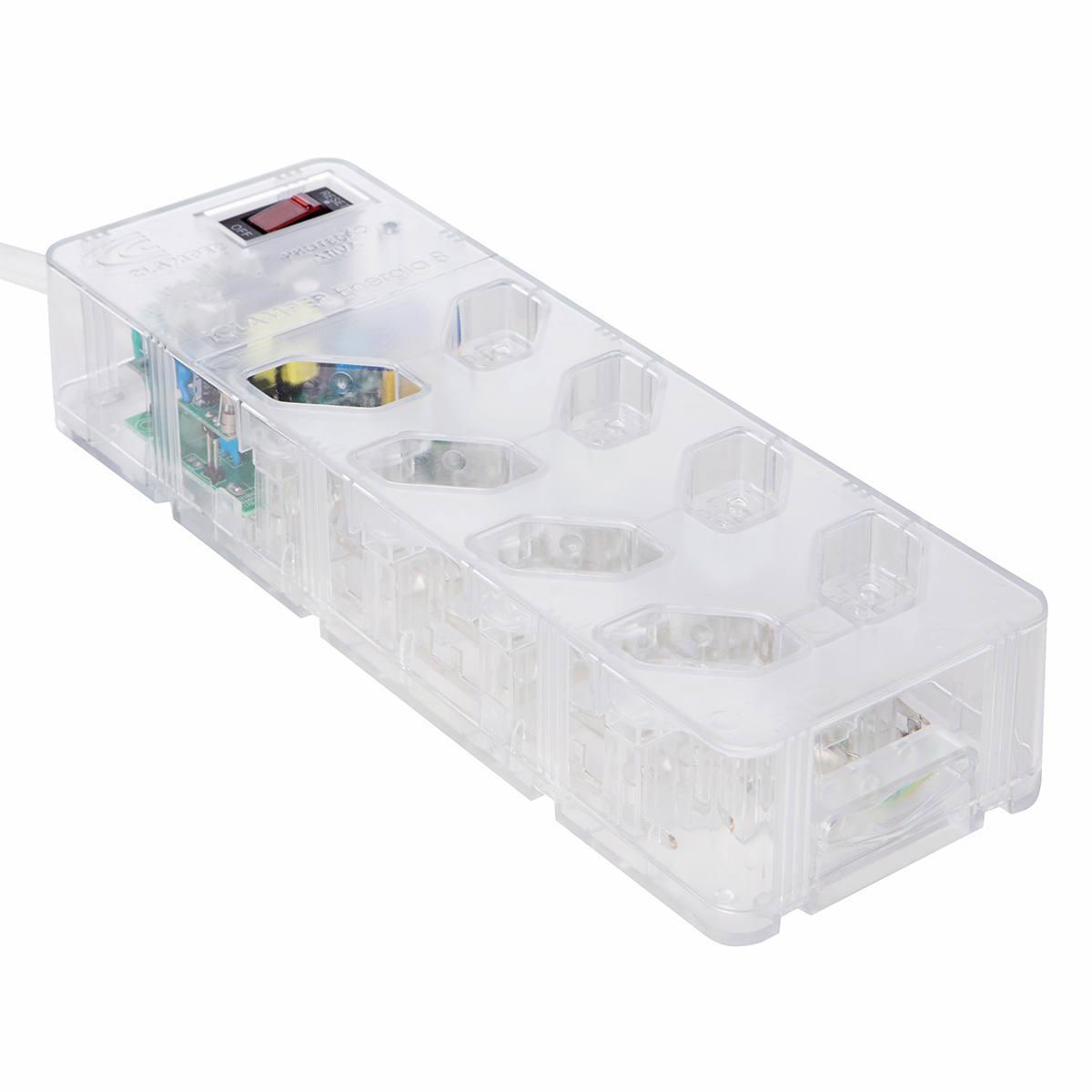 DPS Clamper + Filtro de Linha Bivolt 8 Tomadas Proteção Total contra Surtos iClamper Energia 8 Transparente