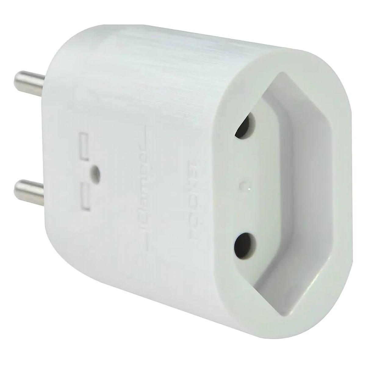 DPS iClamper Pocket 2 Pinos 10A Proteção contra Surtos Elétricos em Ambientes Sem Aterramento Clamper Portátil Branco