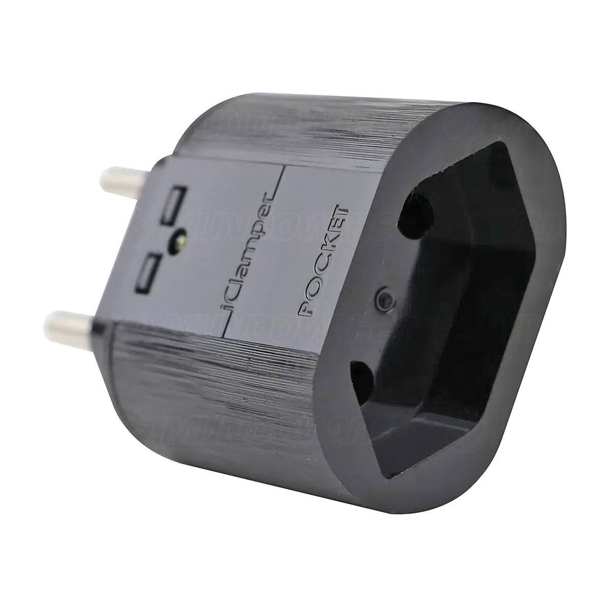 DPS iClamper Pocket 2P 20A Bivolt Protege Contra Raios e Surtos Elétricos Mesmo Sem Aterramento Clamper 2 Pinos Preto