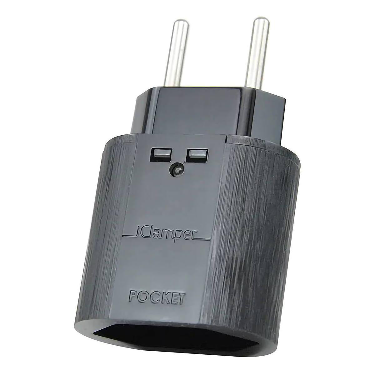 DPS Plug & Use de 2 pinos 10A iClamper Pocket 2P Proteção contra Surtos Elétricos Sem Aterramento Clamper Portátil Preto