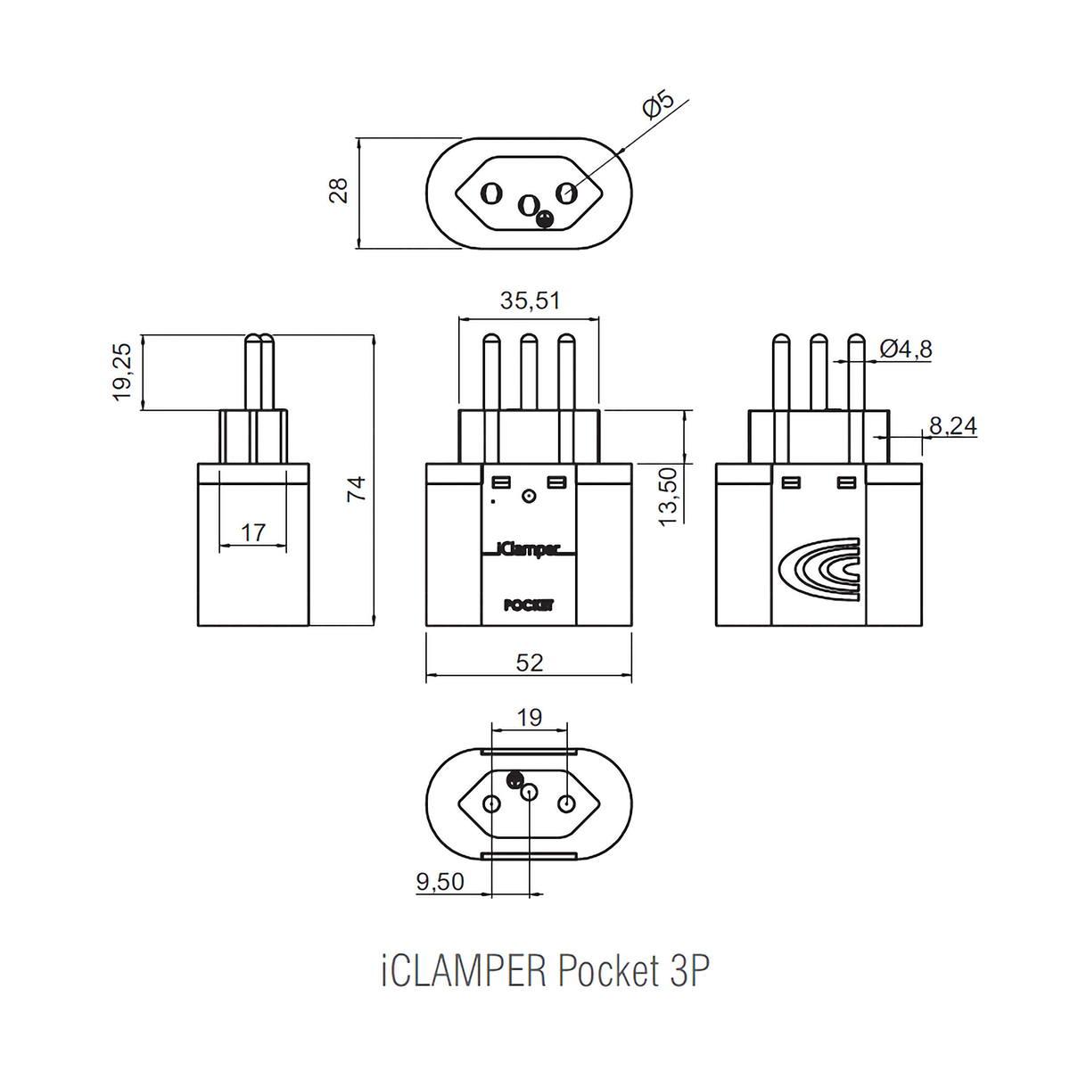DPS Plug & Use iClamper Pocket 3P 20A Transparente Protege Contra Raios e Surtos mesmo em Ambientes Sem Aterramento