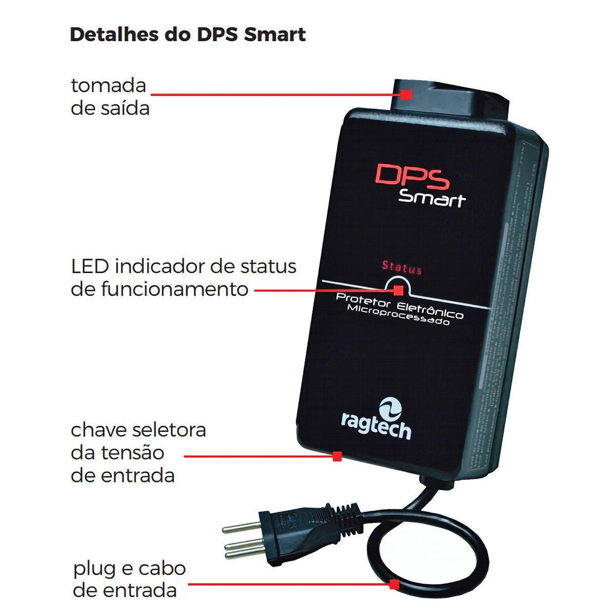 DPS Smart Bivolt Protetor Eletrônico Microprocessado True RMS Proteção Tripla contra Raios e Surtos Ragtech 4780