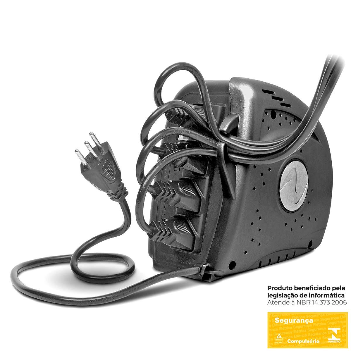 Estabilizador 300VA 300W Bivolt 4 Tomadas Proteção contra Sobrecarga Curto Circuito Sobretemperatura Ragtech 5303